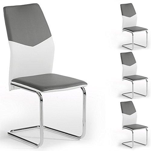 IDIMEX 4er Set Schwingstuhl Esszimmerstuhl Freischwinger Leona, Lederimitat in grau/weiß, Metall verchromt