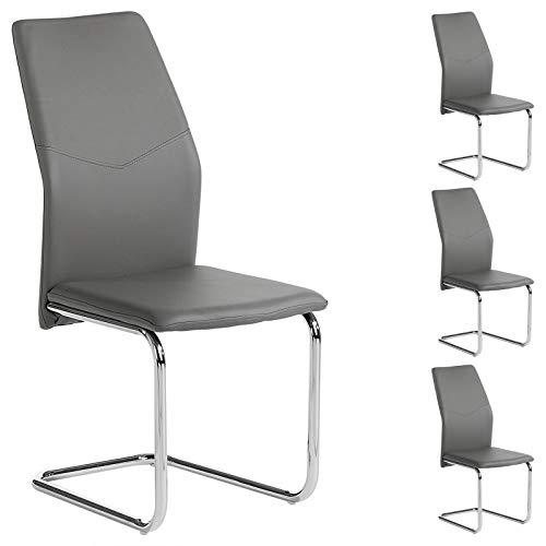 IDIMEX 4er Set Schwingstuhl Esszimmerstuhl Freischwinger Leona, Lederimitta in grau, Metall verchromt
