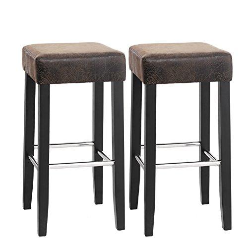 SONGMICS Barhocker 2er Set, gepolsterter Barstuhl, Sitzhöhe 72 cm, Stuhlbeine aus Massivholz, mit Fußstütze, braun, LDC33BR