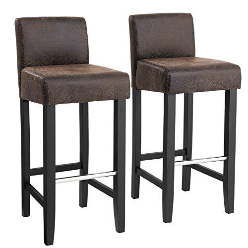 SONGMICS Barhocker 2er Set, gepolsterter Barstuhl mit niedriger Rückenlehne, PU, Sitzhöhe 71 cm, Stuhlbeine aus Massivholz, mit Fußstütze, braun und schwarz, LDC32BR