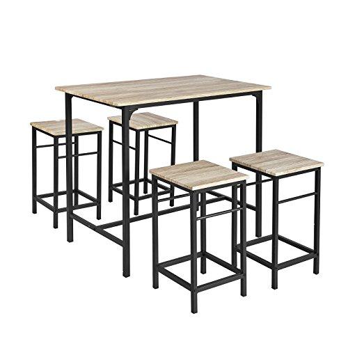SoBuy® OGT11-N Bartisch Set 5-teilig Esstisch Stehtisch Bistrotisch mit 4 Stühlen Sitzgruppe