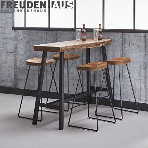 Stehtisch Bartisch Wood Akazie Baumkante Industrial 125 x 46