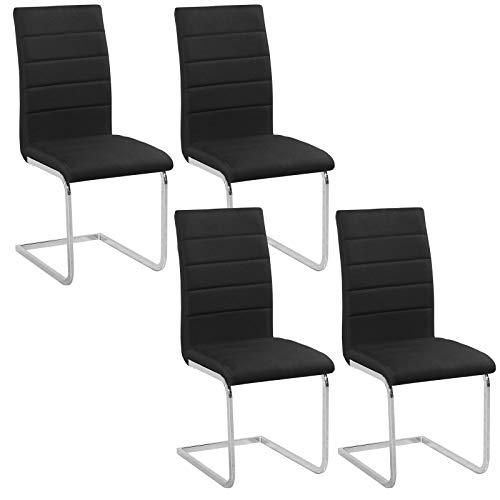 WOLTU 4er Set Schwingerstuhl Freischwinger Stuhl Esszimmstühle Küchenstuhl, modernes Design, Gestell aus verchromtem Stahl, Kunstleder/Leinen BH84-4