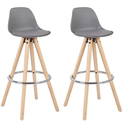 WOLTU #885 2 x Barhocker 2er Set Barstuhl aus Kunststoff Holzgestell mit Lehne + Fußstütze Design Stuhl Küchenstuhl Optimal Komfort