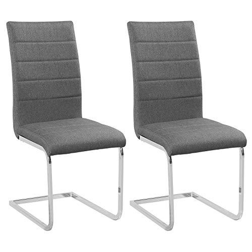 WOLTU Schwingerstuhl #1026 2er Set Freischwinger Stuhl Esszimmerstühle Küchenstuhl Polsterstuhl Kunstleder/Leinen Metallgestell