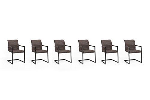 Woodkings 6 x Schwingstuhl Picton Freischwinger mit Armlehne, Metall schwarz und Kunstleder Marmoriert braun, Esszimmerstuhl mit Armlehne modern, Designstuhl, Metallstuhl, Küchenstuhl 6er Set günstig