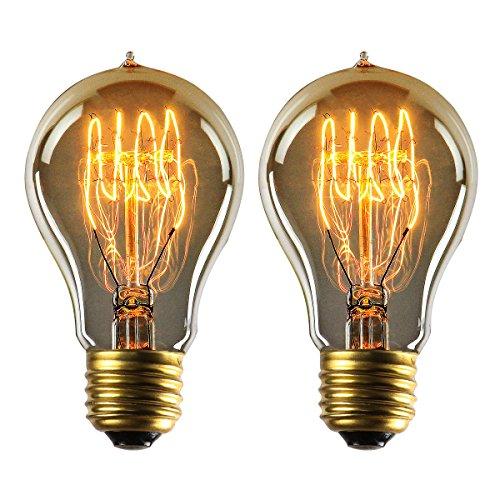 YUNLIGHTS A19 E27 Dimmbar Edison Glühbirne im Vintage Stil 220 - 240V 40W 140lm Warmweiß Edison Lampe - 2 Stück [Energieklasse A+]