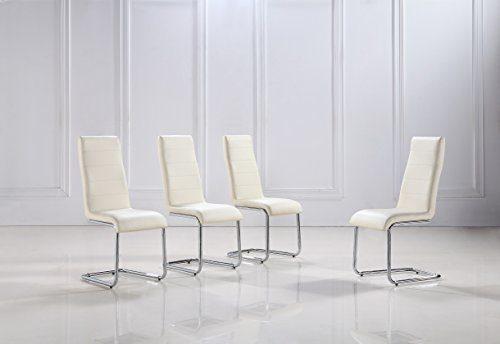 i-flair 4 Stück weiße, beige und schwarze Schwingstühle, Küchenstühle mit hochwertigem Kunstlederpolster S5