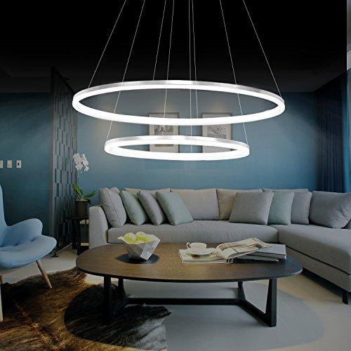 KJLARS Modern Pendelleuchte Hängellampe LED-Ring Hängelleuchte Pendellampe Höhenverstellbar Deckenleuchte für Wohnzimmer Schlafzimmer Esszimmer