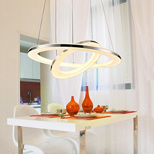 KJLARS Pendelleuchte LED Acryl-Anhänger Edelstahl Hängelampe Höhenverstellbar Küchen Deckenleuchte Modern Wohnzimmer Pendellampe