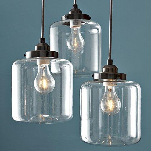 KJLARS Retro Pendelleuchte Vintage Hängeleuchte Glaslampe mit 3 Lichtquelle - Inklusive Glühbirne - Wohnzimmer / Esszimmer/Cáfe/ Restaurant