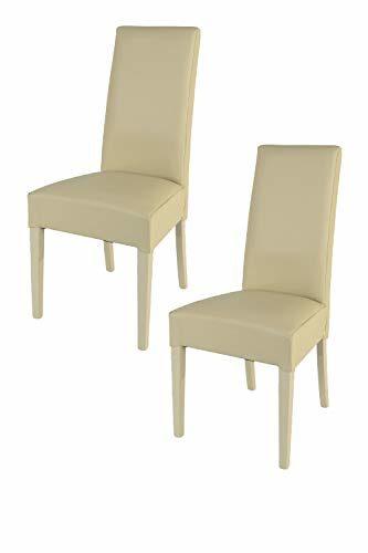 Tommychairs - 2er Set Moderne Stühle Luisa, Robuste Struktur aus lackiertem Buchenholz Farbe Sand, Gepolstert und mit Kunstleder in der Farbe Sand überzogen