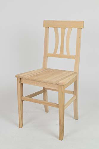 Tommychairs 2er Set Stühle ARTE POVERA klassischen Stils, Robuste Struktur aus poliertem Buchenholz, unbehandelt und 100% natürlich, im natürlichen Farbton und mit Einer Sitzfläche aus echtem Stroh