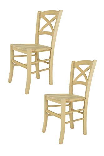 Tommychairs 2er Set Stühle Cross im klassischen Stil, Robuste Struktur aus poliertem Buchenholz, unbehandelt und 100% natürlich, im natürlichen Farbton und mit Einer Sitzfläche aus echtem Stroh