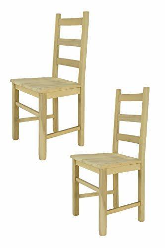 Tommychairs - 2er Set Stühle Rustica im klassischen Stil, Robuste Struktur aus poliertem Buchenholz, unbehandelt und 100% natürlich, im natürlichen Farbton und mit Einer Sitzfläche aus echtem Stroh