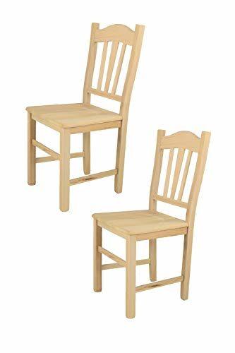 Tommychairs 2er Set Stühle Silvana klassischen Stils, Robuste Struktur aus poliertem Buchenholz, unbehandelt und 100% natürlich, im natürlichen Farbton und mit Einer Sitzfläche aus echtem Stroh