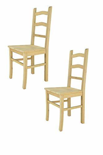 Tommychairs 2er Set Stühle Tiziana klassischen Stils, Robuste Struktur aus poliertem Buchenholz unbehandelt und 100% natürlich, im natürlichen Farbton und mit Einer Sitzfläche aus echtem Stroh