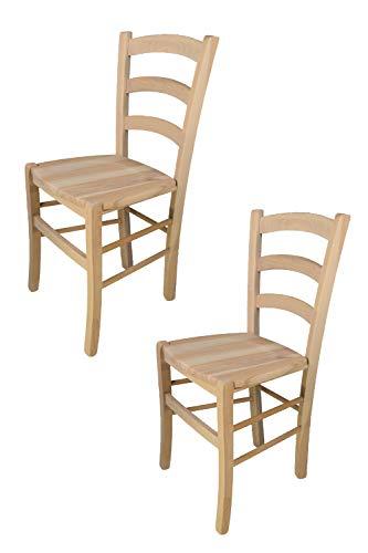 Tommychairs 2er Set Stühle Venezia 38 im klassischen Stil Robuste Struktur aus poliertem Buchenholz, unbehandelt und 100% natürlich, im natürlichen Farbton und mit Einer Sitzfläche aus echtem Stroh