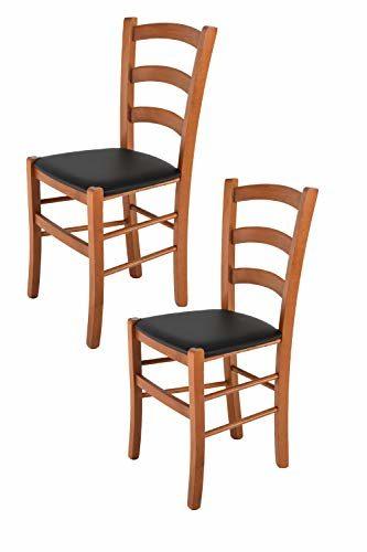 Tommychairs 2er Set Stühle Venice, Robuste Struktur aus lackiertem Buchenholz im Farbton Kirschbaum und Sitzfläche mit Kunstleder in der Farbe Schwarz bezogen. Set Bestehend aus 2 Stühlen Venice
