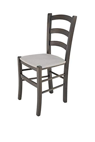 Tommychairs - 2er Set Stühle Venice, Robuste Struktur aus lackiertem Buchenholz in der Anilinfarbe Dunkelgrau und Sitzfläche mit Stoff in der Farbe Perlgrau bezogen