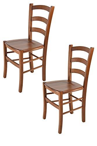 Tommychairs - 2er Set Stühle Venice für Küche und Esszimmer, Robuste Struktur aus lackiertem Buchenholz im Farbton Helles Nussbraun und Sitzfläche aus Holz. Set Bestehend aus 2 Stühlen Venice