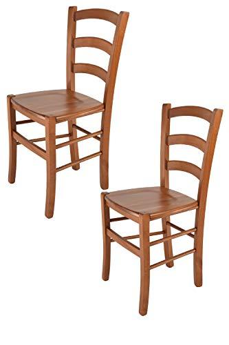 Tommychairs - 2er Set Stühle Venice für Küche und Esszimmer, robuste Struktur aus lackiertem Buchenholz im Farbton Kirschholz und Sitzfläche aus Holz. Set bestehend aus 2 Stühlen Venice