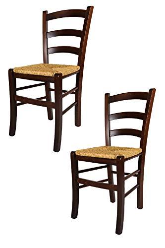 Tommychairs 2er Set: Stühle für die Küche und Esszimmer, Robuste Struktur aus Buchenholz, im Farbton Nuss und Sitzfläche in strohähnlicher Struktur. Set Bestehend aus 2 Stühlen Venezia