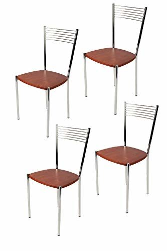 Tommychairs - 4er Set Moderne Stühle Elegance für Küche und Esszimmer – Robuste, verchromte Metallkonstruktion, Sitzfläche in strohähnlicher Struktur in der Farbe natürliches Elfenbein