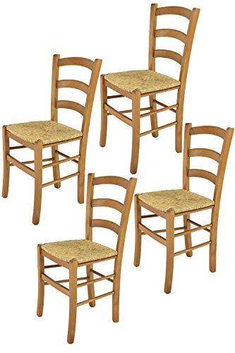 Tommychairs - 4er Set Stühle Venice für Küche und Esszimmer, robuste Struktur aus lackiertem Buchenholz im Farbton Eiche und Sitzfläche aus Stroh. Set bestehend aus 4 Stühlen Venice