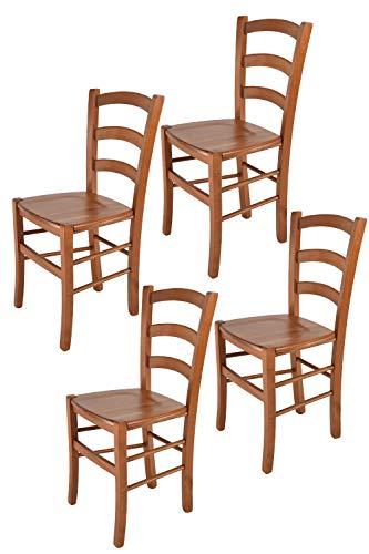 Tommychairs - 4er Set Stühle Venice für Küche und Esszimmer, robuste Struktur aus lackiertem Buchenholz im Farbton Kirschholz und Sitzfläche aus Holz. Set bestehend aus 4 Stühlen Venice