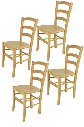 Tommychairs - 4er Set Stühle Venice für Küche und Esszimmer, robuste Struktur aus lackiertem Buchenholz im Farbton Naturfarben und Sitzfläche aus Holz. Set bestehend aus 4 Stühlen Venice