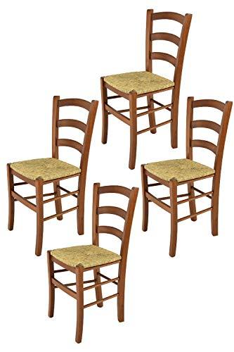Tommychairs - 4er Set Stühle Venice für Küche und Esszimmer, robuste Struktur aus lackiertem Buchenholz im Farbton Nuss und Sitzfläche aus Stroh. Set bestehend aus 4 Stühlen Venice