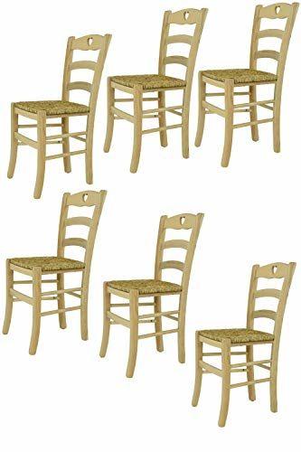 Tommychairs : 6er Set Stühle Cuore für Küche und Esszimme, robuste Struktur aus poliertem Buchenholz, unbehandelt und 100% natürlich, im natürlichen Farbton und mit Einer Sitzfläche aus echtem Stroh