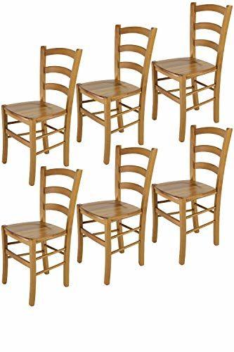 Tommychairs - 6er Set Stühle Venice für Küche und Esszimmer, robuste Struktur aus lackiertem Buchenholz im Farbton Eichenholz und Sitzfläche aus Holz. Set bestehend aus 6 Stühlen Venice