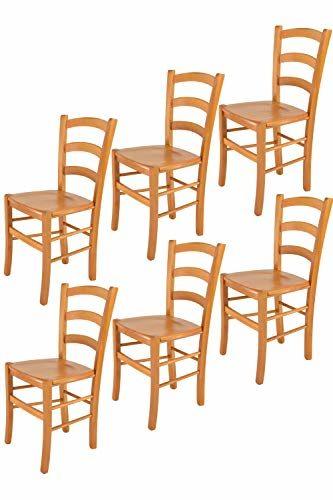 Tommychairs - 6er Set Stühle Venice für Küche und Esszimmer, robuste Struktur aus lackiertem Buchenholz im Farbton Honig und Sitzfläche aus Holz. Set bestehend aus 6 Stühlen Venice