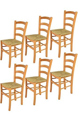 Tommychairs - 6er Set Stühle Venice für Küche und Esszimmer, robuste Struktur aus lackiertem Buchenholz im Farbton Honig und Sitzfläche aus Stroh. Set bestehend aus 6 Stühlen Venice