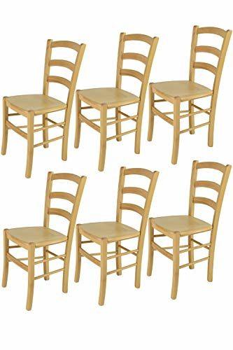 Tommychairs - 6er Set Stühle Venice für Küche und Esszimmer, robuste Struktur aus lackiertem Buchenholz im Farbton Naturfarben und Sitzfläche aus Holz. Set bestehend aus 6 Stühlen Venice