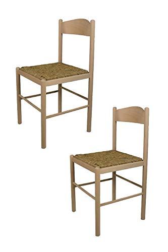 Tommychairs Set 2 Stühle PISA 38 Struktur aus poliertem Buchenholz, unbehandelt und 100% natürlich, mit Einer Sitzfläche aus echtem Stroh
