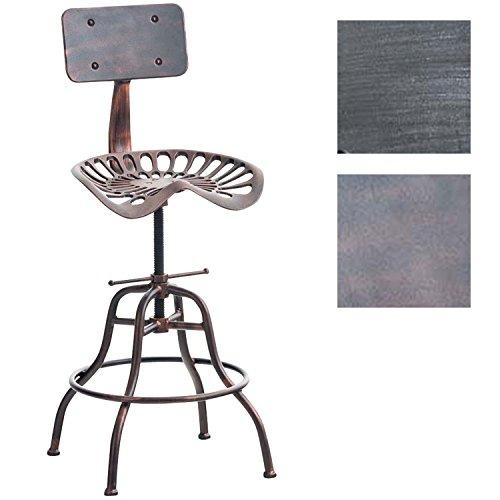 CLP Barhocker Essen im Industrial Look | Höhenverstellbarer Metallhocker mit Fußstütze | Robuster Tresenhocker mit Rückenlehne