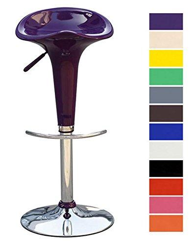 CLP Barhocker SADDLE mit drehbarem Kunsttoffsitz und Fußablage I Höhenverstellbarer Design-Hocker mit Metallgestell in Chrom-Optik I Bis zu 120 kg belastbar I In verschiedenen Farben erhältlich