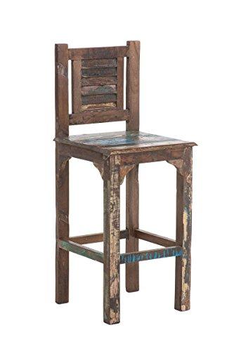 CLP Holz-Barhocker SAVERA mit Lehne und Fußstütze I Massiver Barstuhl aus recyceltem Teakholz I Mehrfarbiger Tresenstuhl mit einer Sitzhöhe von: 75 cm Bunt