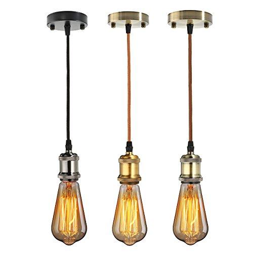 KINGSO E27 Lampenfassung Kupfer Vintage Retro Antike Edison Pendelleuchte Hängelampe Halter Lampe Zubehör mit 1 Meter Kabel