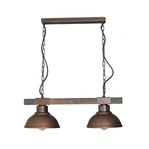 Licht-Erlebnisse F/LU/171110/611 Geschmackvolle Hängeleuchte Vintagestil 2x E27 bis zu 60 Watt 230V aus Metall & Holz Küche Pendelleuchte Hängelampe Pendellampen innen