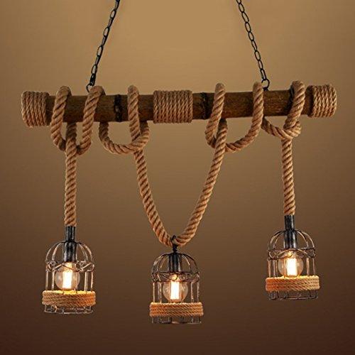 Ruanpu Industrielle Vintage Hängelampe Pendelleuchte Seil Anhänger Lampe E27 Sockel mit Korb Holz für Wohnzimmer Esszimmer Restaurant Café Hotel Diele Dekoration (Keine Leuchtmittel)