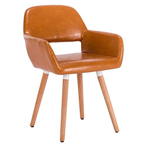 WOLTU® 1 Stück Esszimmerstuhl Küchenstuhl Wohnzimmerstuhl Design Stuhl Retro Stuhl Polsterstuhl mit Arm- und Rückenlehne, Dicke Polsterung aus Kunstleder, Massivholz #890