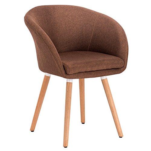 WOLTU® 1 Stück Esszimmerstuhl Küchenstuhl Wohnzimmerstuhl Design Stuhl Retro Stuhl Polsterstuhl mit Arm- und Rückenlehne, Dicke Polsterung aus Leinen, Massivholz #889