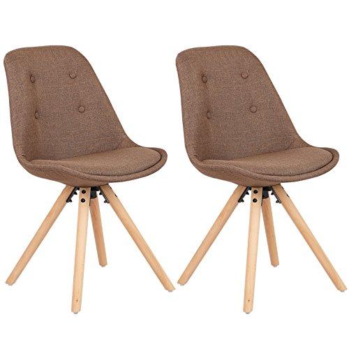 WOLTU® #1110 2 x Esszimmerstühle 2er Set Esszimmerstuhl, Sitzfläche aus Leinen, Design Stuhl, Küchenstuhl, Holzgestell
