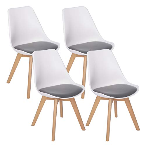 WOLTU-4er-Set-Esszimmersthle-Kchenstuhl-Design-Stuhl-Esszimmerstuhl-Kunstleder-Holz-2-farbig-Wei-Grau-BH97wgr-4-0