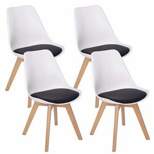 WOLTU-4er-Set-Esszimmersthle-Kchenstuhl-Design-Stuhl-Esszimmerstuhl-Kunstleder-Holz-2-farbig-Wei-Schwarz-BH97wsz-4-0