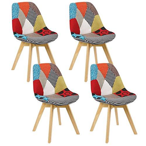 WOLTU® 4er Set Esszimmerstühle Küchenstuhl Design Stuhl Esszimmerstuhl Leinen Holz Mehrfarbig BH29mf-4